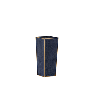 Cecil Navy Blue Shagreen with Antique Gold Trim Accent Table