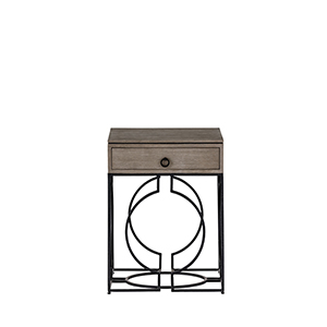Cersei Gabby Grey and Textured Black Side Table