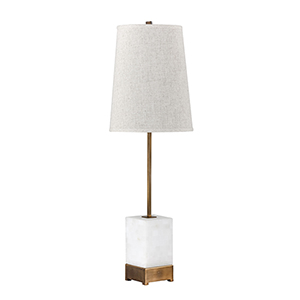 Geneva Medium Antique Brass and Tiled Alabaster withNatural Linen One-Light Table Lamp
