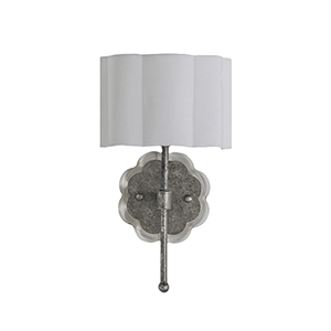 Shirley Champagne Silver and Acrylic with White Linen Shade One-Light Wall Sconce