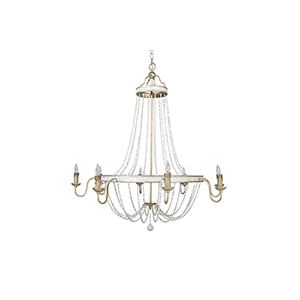 Corinna Champagne Silver and Antique White Eight-Light Chandelier