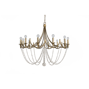 Sandra Antique Gold and Antique White Twelve-Light Chandelier