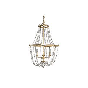Whitney Vintage Gold and Antique White Four-Light Chandelier