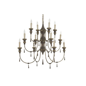 Durham Chocolate and Antique Gold Leaf Twelve-Light Chandelier