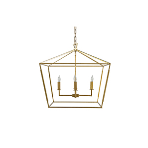 Adler Vintage Gold and Antique Bronze Four-Light Pendant