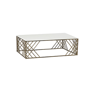 Cassidy White Seagrass and Antique Gold Coffee Table