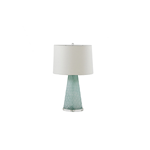 Chloe Rustic Mint Glass and Chrome with Sea Salt Linen One-Light Table Lamp