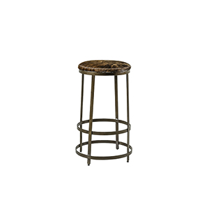Simpson Brown and White Hair Hide and Brushed Brass Bar Stool