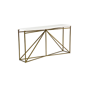 Noah White Faux Bone and Antique Brass Console Table