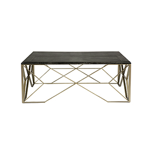 Theodore Dark Gray Cerused Oak and Light Bronze Metal Coffee Table
