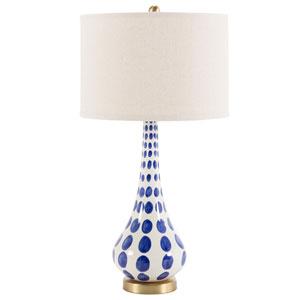 Polly Cobalt and White Polka Dot One-Light Ceramic Table lamp