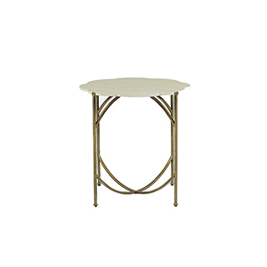 Gillian Antique Gold and Natural Limestone Accent Table