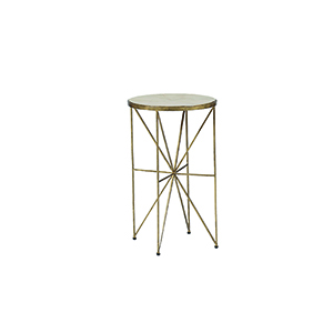 Nina Antique Brass and Horn Accent Table
