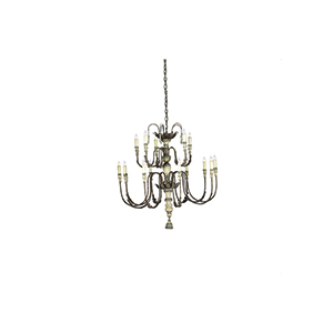 Katrina Silver and Dappled Cream 15-Light Chandelier