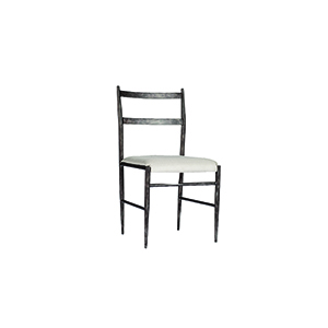Ward Antique Pewter and Soft Linen Dining Chair, Set of 2