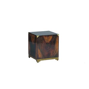 Addison Polished Acacia and Antique Brass Accent Table