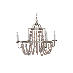 Sonya Antique Silverleafed and and Whitewashed Wood Four-Light Chandelier