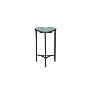 Walter Textured Bronze and Antique Eglomise Mirror Side Table
