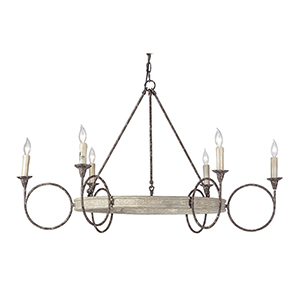 Bailey White Washed Wood and Rust Six-Light Chandelier
