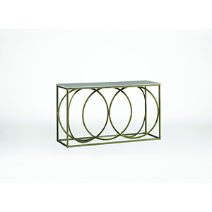 Patterson White Marble and Antique Brass Console Table