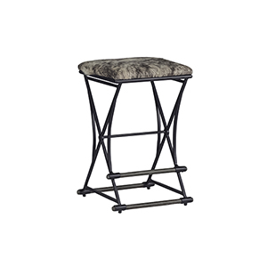 Shields Cerused Oak, Soft Black Iron, Brown and White Hair on Hide Counter Stool