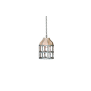Lucia Oxidized Iron and Burlap One-Light Chandelier