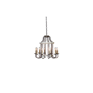 Adele Chipped White and Rust Ten-Light Chandelier