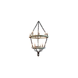 Joselyn Muslin and Rust Fifteen-Light Chandelier