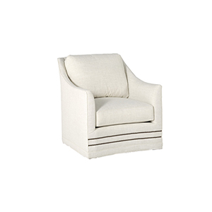Baldwin Kasler Cream Swivel Chair with Antique Brass