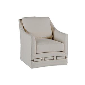 Baldwin Linen Dove Swivel Chair with Antique Brass