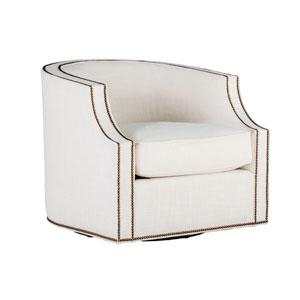 Willow Kasler Cream Swivel Chair with Antique Brass