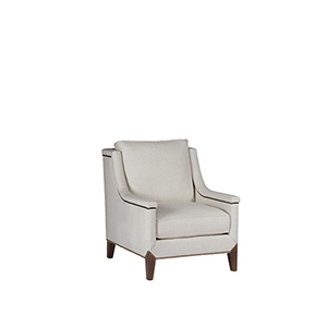 Liam Linen Dove Chair with Antique Brass