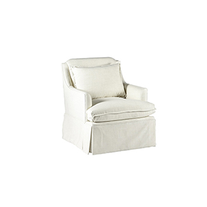 Bridgette Cream Skirted Swivel Chair with Flange