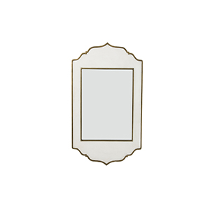 Villa White Resin and Brushed Brass 26-Inch Mirror
