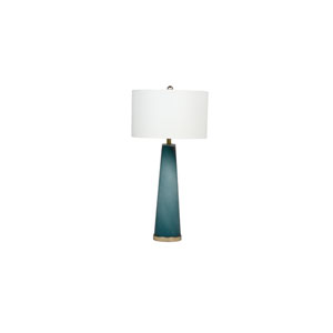 Brianna Blue Hand-Cut Glass and Champagne 17-Inch One-Light Table Lamp