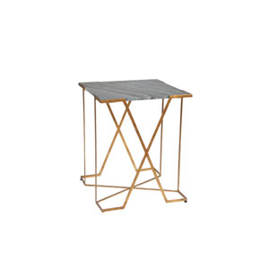 Jenna Antique Gold Leaf and Black Marble 20-Inch  Side Table