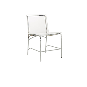 Penelope Chrome Metal and Clear Acrylic 18-Inch Dining Chair