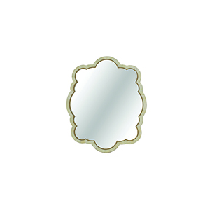 Rita Polished White Horn and Antique Brass 32-Inch Mirror