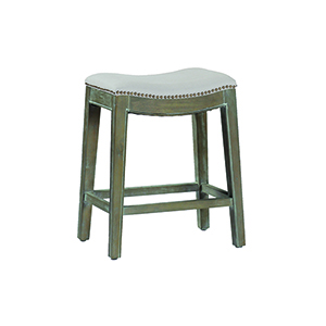 Vivian Burnished Oak and Linen Dove Sunbrella Fabric Counter Stool