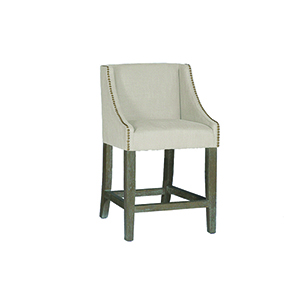 Winston Burnished Oak and Linen Dove Sunbrella Fabric Counter Stool