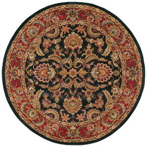 Ancient Treasures Black and Red Round: 8 Ft. Rug