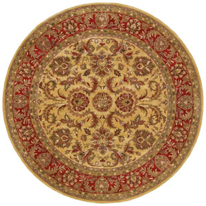 Ancient Treasures Gold and Red Round: 8 Ft. Rug