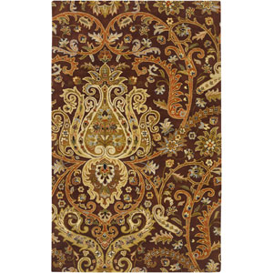 Ancient Treasures Chocolate and Gold Rectangular: 5 Ft. x 8 Ft. Rug