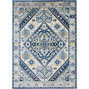 Ararat Blue and Yellow Rectangular: 5 Ft. 3 In. x 7 Ft. 3 In. Rug