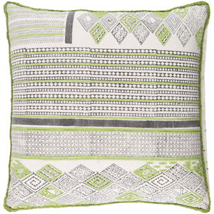 Aba Green and Brown 18-Inch Pillow with Down Fill