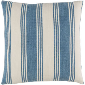 Anchor Bay Cobalt and Ivory 20-Inch Pillow with Poly Fill