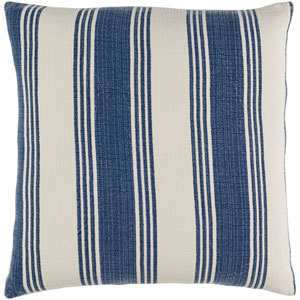 Anchor Bay Navy and Ivory 18-Inch Pillow with Poly Fill