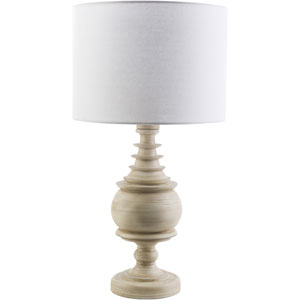 Acacia Antique White One-Light Table Lamp with White Shade