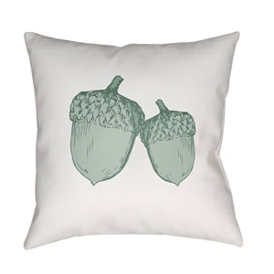 White Acorn 20-Inch Throw Pillow with Poly Fill