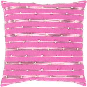 Accretion Bright Pink and Cream 18 x 18 In. Throw Pillow Cover